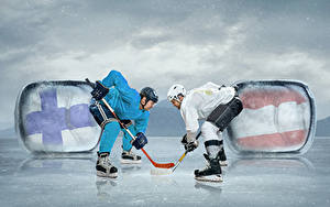 Pictures Hockey Men Two Helmet Ice skate sports