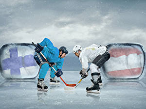 Pictures Hockey Men Two Helmet Ice skate