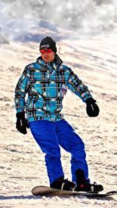 Fonds d'écran Snowboard Homme Hiver Neige Lunettes Sport