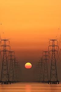 Bilder Sonnenaufgänge und Sonnenuntergänge Stromleitung Sonne
