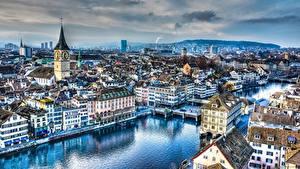 Image Switzerland Zurich Rivers Building Bridges Evening Church HDRI Limmat river Cities