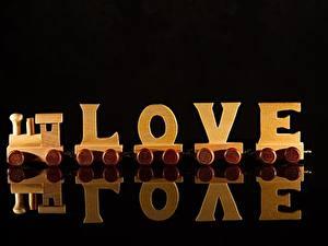 Bilder Züge Liebe Schwarzer Hintergrund Aus Holz Englische Spiegelt