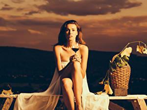 Fotos Wein Braunhaarige Sitzend Weinglas Weidenkorb Blick Mädchens