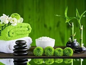 Hintergrundbilder Handtuch Bambusgewächse Steine Spa Salz