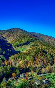 Desktop hintergrundbilder Vereinigte Staaten Gebirge Wälder Herbst Landschaftsfotografie Dorf North Carolina Natur