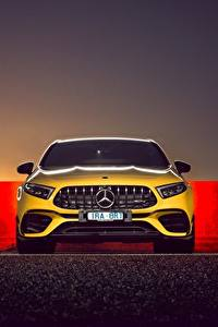Hintergrundbilder Mercedes-Benz Vorne Gelb AMG A 45 S 4MATIC Autos