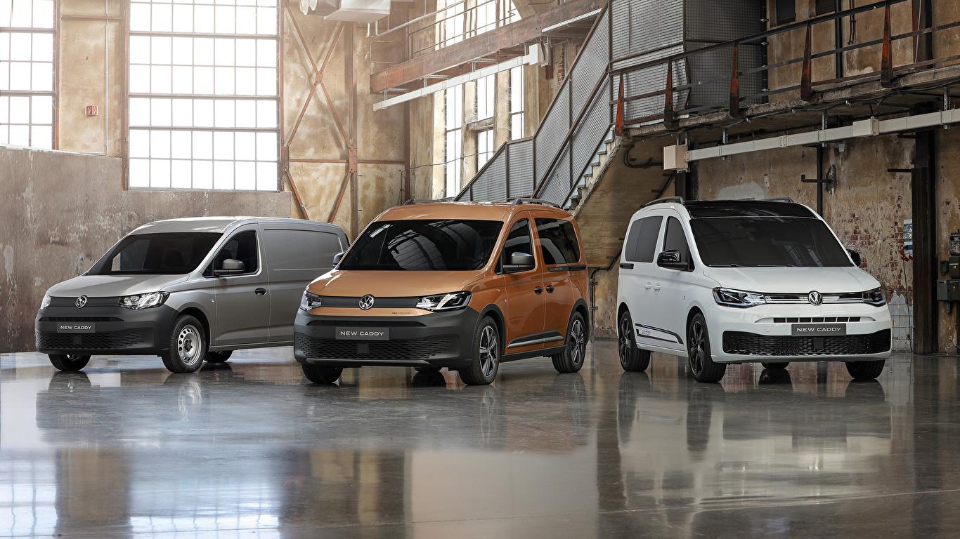 Fotos von Volkswagen 2020 Caddy Ein Van auto Drei 3 1366x768 Autos automobil