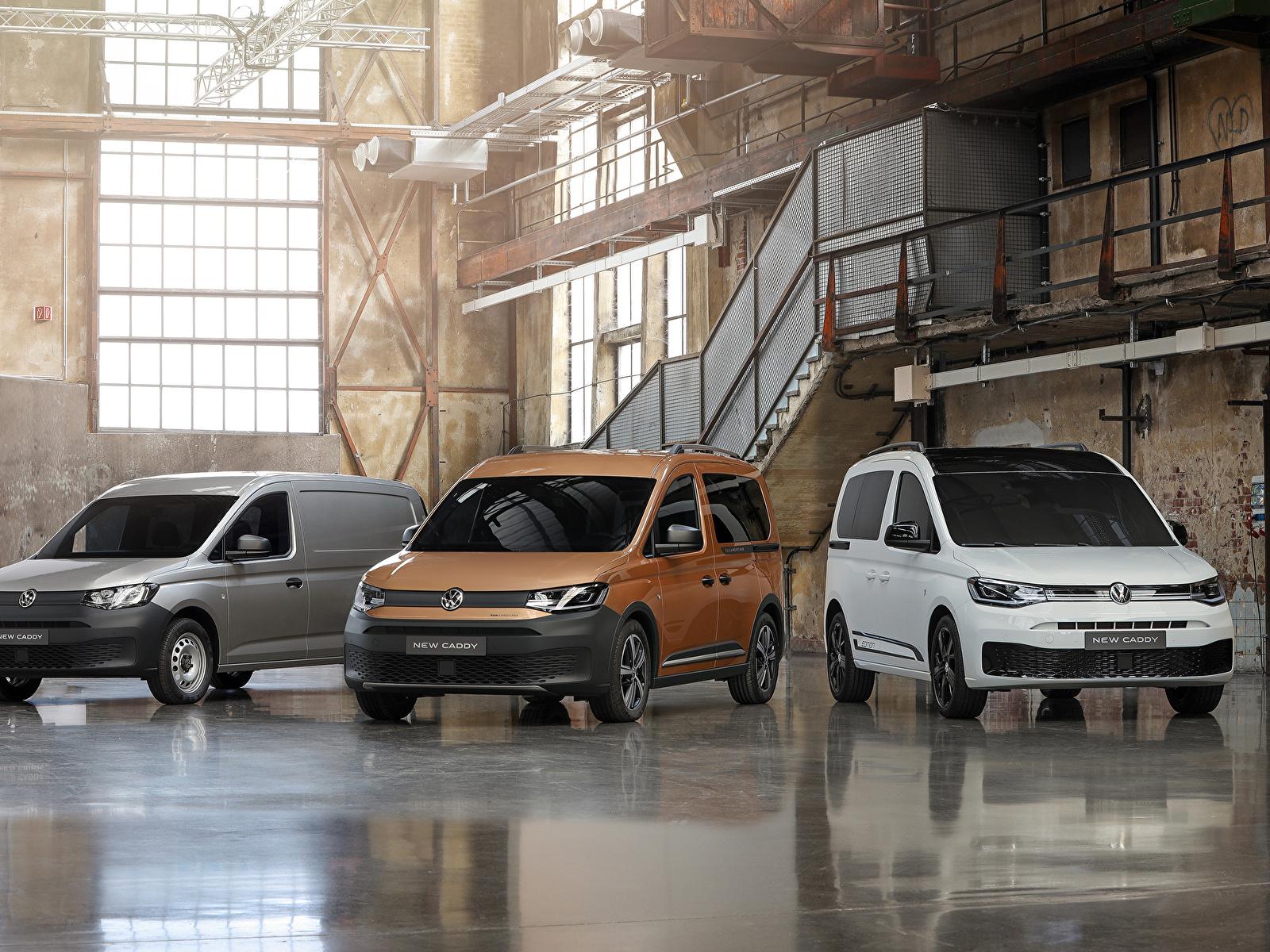 Fotos von Volkswagen 2020 Caddy Ein Van auto Drei 3 1600x1200 Autos automobil