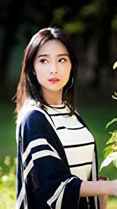 Hintergrundbilder Asiatische Blick Brünette Mädchens