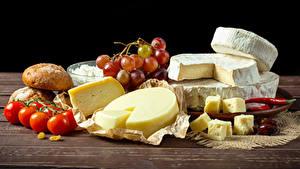 Bilder Käse Tomate Weintraube Brot