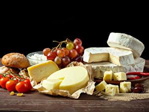 Bilder Käse Tomate Weintraube Brot das Essen