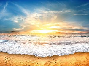 Fotos Morgendämmerung und Sonnenuntergang Meer Wasserwelle Himmel