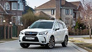 Bilder Subaru Weiß Metallisch 2016 Forester 2.0XT