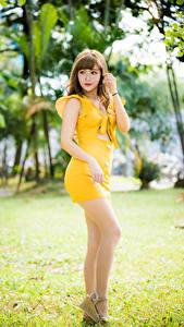 Fotos Asiatische Posiert Kleid Gelb Bein junge Frauen