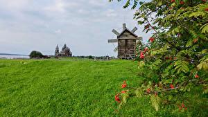 Bilder Russland Tempel Acker Mühle Ast Kizhi Natur