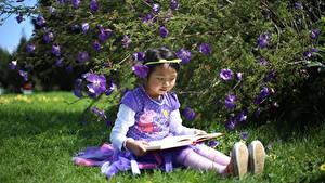 Fotos Asiatische Gras Sitzend Buch Kleine Mädchen Kinder