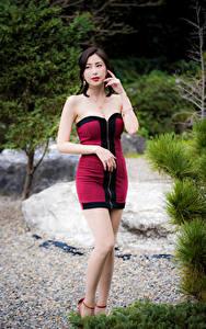 Hintergrundbilder Asiatische Posiert Kleid Bein junge frau