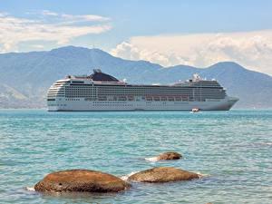 Hintergrundbilder Steine Meer Schiff Kreuzfahrtschiff