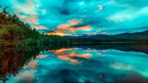 Hintergrundbilder Sonnenaufgänge und Sonnenuntergänge USA See Landschaftsfotografie Chocorua Lake, New Hampshire