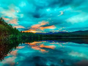Hintergrundbilder Sonnenaufgänge und Sonnenuntergänge USA See Landschaftsfotografie Chocorua Lake, New Hampshire Natur