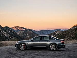 Hintergrundbilder Audi Gebirge Seitlich Limousine Metallisch 2020, S6, US-version auto
