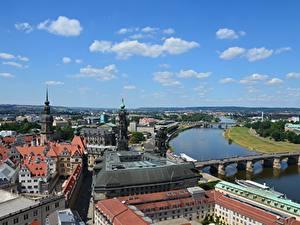 Fotos Deutschland Dresden Flusse Brücken Haus Elbe Städte