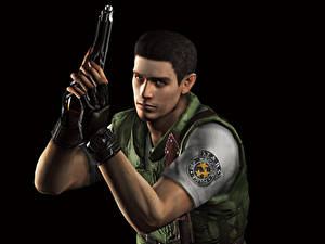 Fotos Resident Evil Mann Pistolen Polizei Schwarzer Hintergrund Chris Spiele