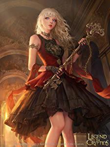 Bilder Legend of the Cryptids Blondine Kleid Schlüssel Spiele Fantasy Mädchens