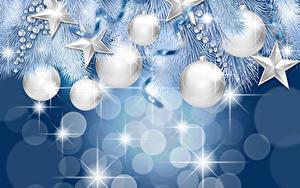 Bilder Neujahr Silber Farbe Kugeln Ast Kleine Sterne