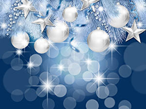Bilder Neujahr Silber Farbe Kugeln Ast Stern-Dekoration