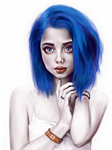 Hintergrundbilder Gezeichnet Blau Haar Mädchens
