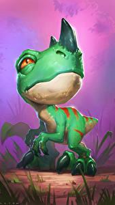 Fondos de Pantalla Hearthstone: Heroes of Warcraft Dinosauria Cachorros Ravasaur Runt Juegos