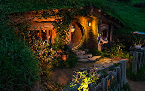 壁纸、、ニュージーランド、公園、住宅、夕、街灯、Hobbit House Matamata、都市