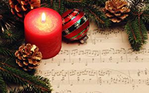 Fotos Neujahr Noten Kerzen Ast Zapfen Kugeln