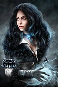 Hintergrundbilder The Witcher 3: Wild Hunt Magie Brünette Haar Yennefer computerspiel Mädchens Fantasy