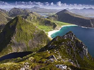 Fotos Norwegen Lofoten Küste Gebirge Vagen Natur