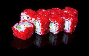 Bilder Meeresfrüchte Sushi Kaviar Schwarzer Hintergrund