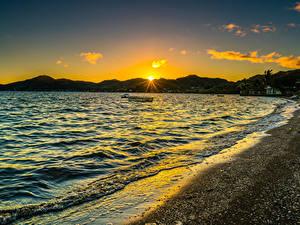 Hintergrundbilder Küste Sonnenaufgänge und Sonnenuntergänge Wasserwelle Vereinigte Staaten Ozean Hawaii Sonne Kaneohe Bay