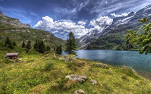 Fotos Schweiz Gebirge See Haus Steine Landschaftsfotografie HDR Gras Engstlensee Natur