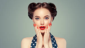 Photo Gray background Brown haired Face Red lips Hands Manicure Girls