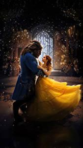 Fonds d'écran Emma Watson Monsters La Belle et la Bête 2017 Deux Les robes Corne Danse Cinéma