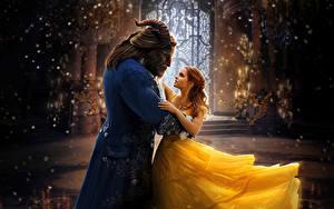 Fonds d'écran Emma Watson Monsters La Belle et la Bête 2017 Deux Les robes Corne Danser Cinéma