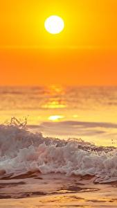 Picture Evening Sunrises and sunsets Waves Sea Sun