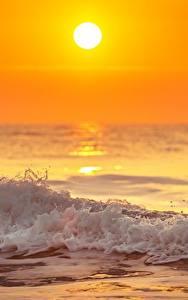 壁纸、、夕、朝焼けと日没、波、海、太陽、