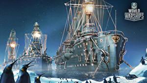 Fotos World Of Warship Schiffe Pinguine Russische Cruiser 'Aurora' Spiele Heer