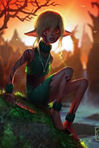 Fotos Elfen Messer Sitzend Kleine Mädchen Angst Fantasy