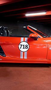 Bilder Porsche Orange Metallisch Seitlich Roadster 2017 MTM 718 Boxster Autos