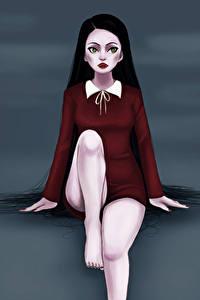 Fotos Vampir Sitzen Fantasy Mädchens