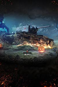 壁纸、、ワールドオブタンクス、戦車、ロシアの、Blitz, KV-1、ゲーム