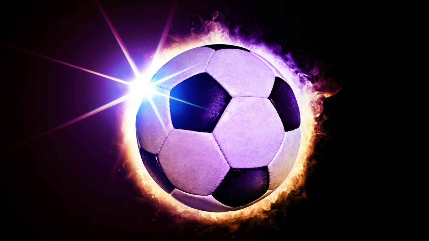 Fonds Decran 1366x768 Football Fond Noir Ballon Rayons De